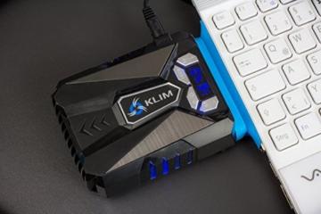 KLIM Cool Universaler Kühler für Spielekonsole Laptop PC - Hochleistungslüfter für schnelle Kühlung - USB Warmluft-Abzug (Blau) -
