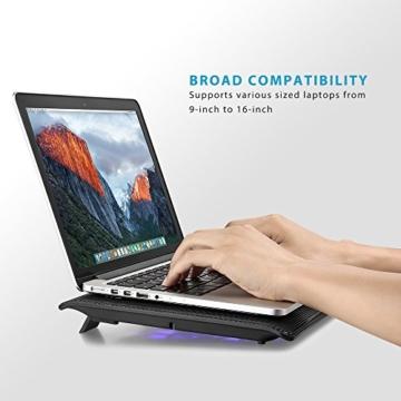 [Neue Version] AVANTEK 16 Zoll Laptop Kühler Notebook Cooler Ständer Kühlpad Kühlmatte mit 6 Ventilatoren, 2 USB-Anschlüssen, blaue LED Licht, verstellbare Ventilatorgeschwindigkeit -